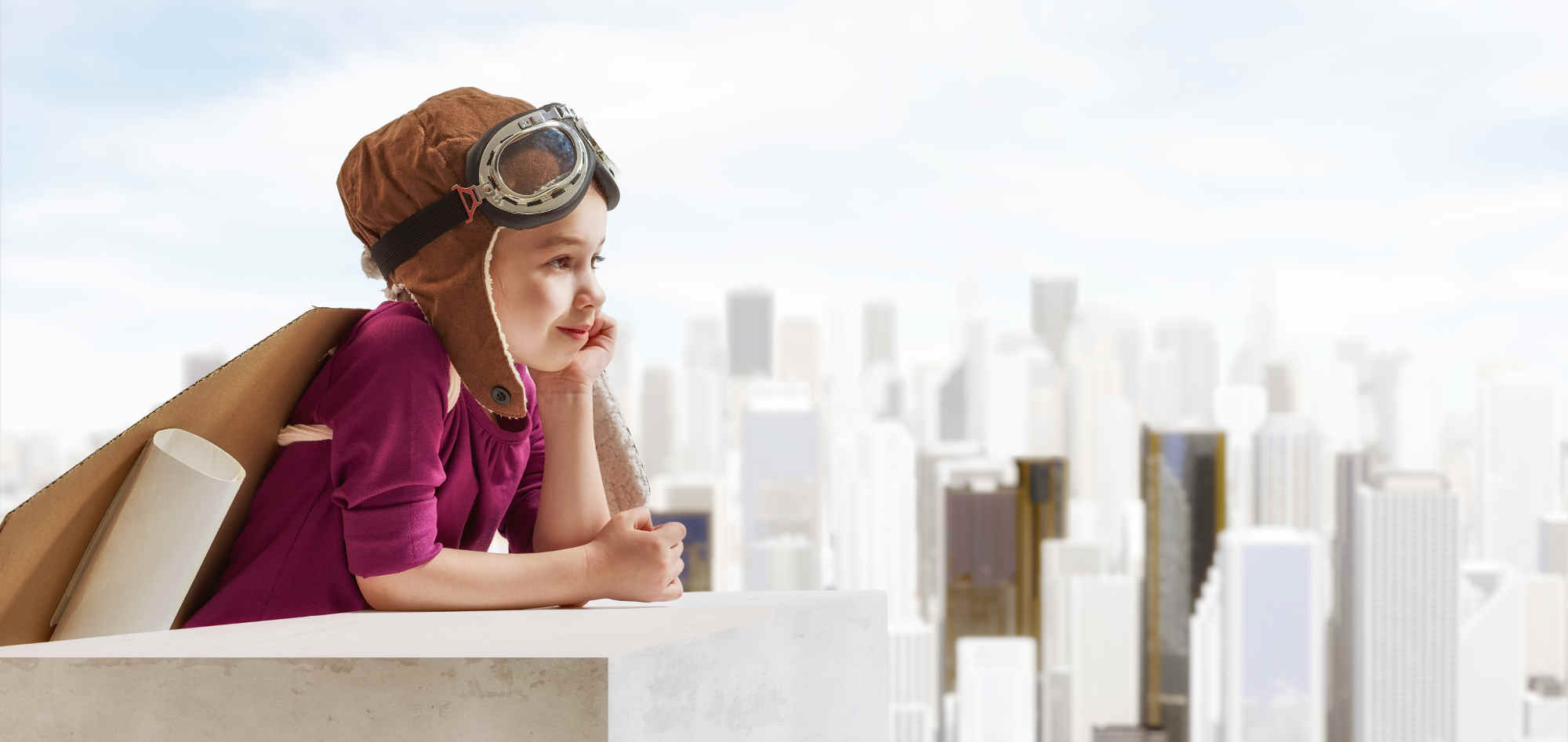 junges Mädchen das vom Traumberuf als Pilotin träumt - TalentLoop damit es nicht bei einem Traum bleibt