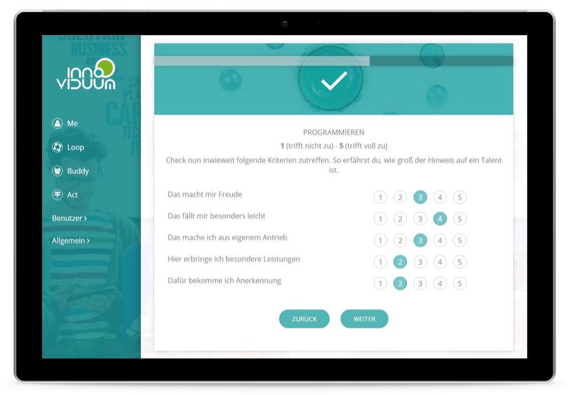TalentLoop Prozess Talente erkennen Talente Check auf Tablet