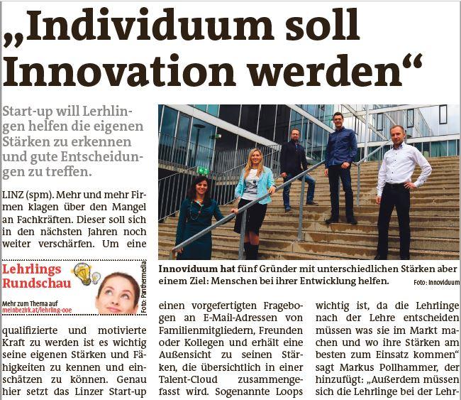 Screenshot Innoviduum Artikel Linzer Bezirksrundschau