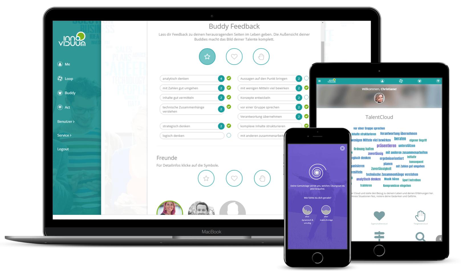 Screenshots von Innoviduum TalentLoop: Laptop, Tablet, Smartphone